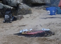 Le barbecue en préparation