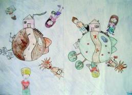 Concours dessin : Ma terre idéale - Inès - Hôpital ANDRE MIGNOT - LE CHESNAY VERSAILLES
