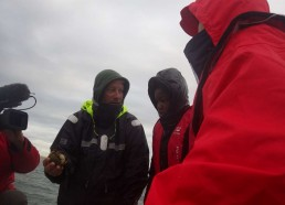Florent explique la variété de crabe qui a été prise dans le filet