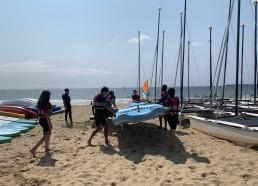 Les matelots s'initient au paddle géant