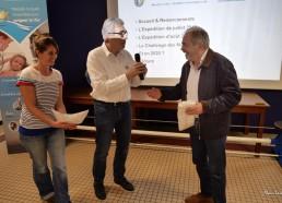 Patrick LEMESLE et Elsa CHAUVE, Président et membre des Matelots de la Vie avec M.PELLETEUR