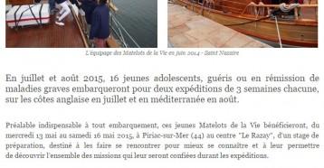 Stage de préparation à Piriac sur Mer (44) pour 16 jeunes Matelots de la Vie, Actu Nautique, 12 mai 2015