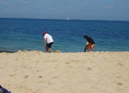 Construction d'un château de sable