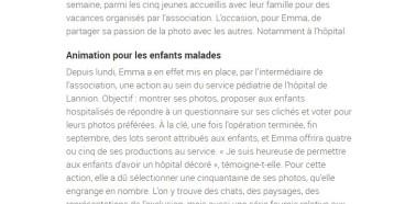 Emma partage sa passion de la photo, Le Télégramme 14 août 2018