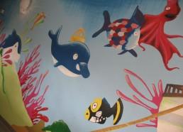 Concours dessin : Mon plus beau poisson - Fresque dans le service peinte par les enfants - Centre Hospitalier Yves Le Fol Saint-Brieuc
