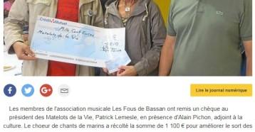 Les Fous de Bassan offrent 1100 € aux Matelots de la vie, Ouest France du 09 septembre 2017
