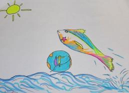 Concours dessin : Mon plus beau poisson - Nicolas - Hôpital ANDRE MIGNOT - LE CHESNAY VERSAILLES - Deuxième position : 5 points