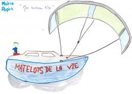 Concours dessins : Mon bateau imaginaire - Matis : Mon bateau Kite - CHR SAINT-NAZAIRE - Seconde position : 5 points