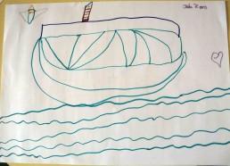 Concours dessins : Mon bateau imaginaire - Jade, 7 ans - Hôpital National de SAINT-MAURICE