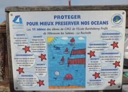 Exemple d'affichage de prévention mis en place dans le port & élaborée avec une école de la Rochelle