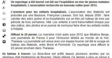 Les Matelots de la vie à Thalassa en janvier, Ouest France, 23/10/2011