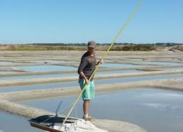 Pierre utilise le las pour faire monter le gros sel sur la ladure