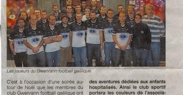 Le football gaélique aux côtés des Matelots de la vie, Ouest France 20 décembre 2016