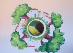 Concours dessin : Ma terre idéale - Dernier mobile réalisé au crayon pour la salle de plâtre - Hôpital National de SAINT-MAURICE