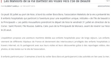 Les Matelots de la vie mettent les voiles vers l'Ile de Beauté, Nice Premium, 1er août 2015
