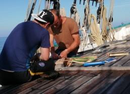 Préparation des lignes de pêche