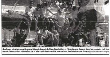 Les jeunes « Matelots de la vie » ont levé l'ancre, Nice Matin 06 juillet 2009