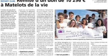 Remise d'un don de 10 296 € à Matelots de la vie, Les Sables Vendée Journal 16 août 2018