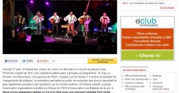 Hissez oh : un festival de chants de marins à Pornichet, Ouest France 13/08/2013