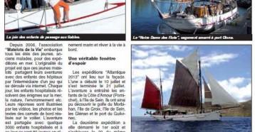 Oublier la maladie en goûtant l'aventure, Les Sables Vendée Journal 15/08/2013