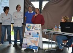 Jean Yves CHAUVE, un des fondateur de l'association, accompagné de Sébastien MARTIN et Patrick LEMESLE qui créent les jeux du Challenge des Matelots