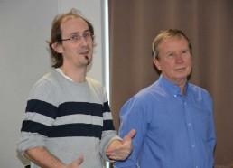 Sébastien (webmaster du site Internet de l'association) et Jean-Yves (médecin de l'association) organisateurs des jeux pour les hôpitaux