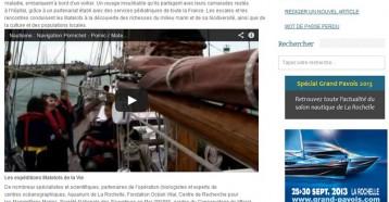 Les expéditions Matelots de la Vie, Nautisme-Info 19/07/2013