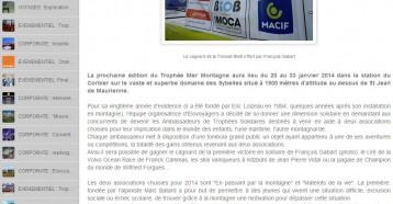 Les Trophées Solidaires du Trophée Mer Montagne 2014, Elo-Voyagers 26/10/2013