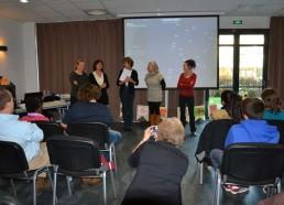 De gauche à droite: Sandra de l'institut Curie, Lila de l'hôpital de Versailles, Françoise, Mme Haudoire de l'hôpital de Rouen, et Malika, de l'hôpital de St Nazaire