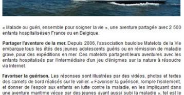 « Matelots de la Vie » un voilier à l'hôpital, Ouest France 28/06/2011