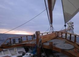 Lever de soleil à l'arrivée à Belle Ile