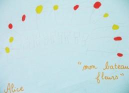 Concours dessins : Mon bateau imaginaire - Alice, Mon bateau Fleurs - Centre Hospitalier Yves Le Fol Saint-Brieuc