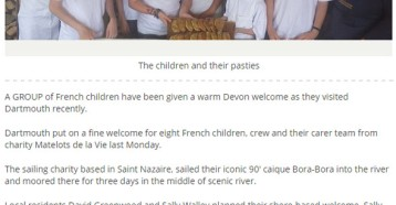 Dartmouth plays host to children from a French charity, Herald Express, 24 juillet 2015