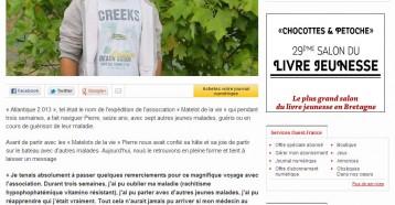Pierre, matelot de la vie est de retour, Ouest France 18/09/2013