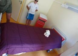 Notre mascotte teste un lit
