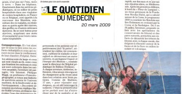 Un bateau pour soigner les enfants et la planète, Le quotidien du médecin 20 mars 2009